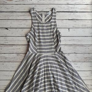 BAR III Blue and White Summer Striped Mini Dress S